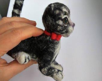 needle felt Cat toy needle felt cat wool needle felt animal miniature toy handmade toy collectible toy Author's toy gift