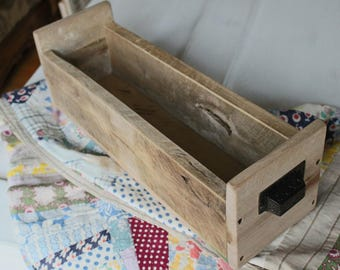 Wooden Box with Vintage Metal Handles
