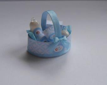 Dollhouse Miniature 1/12th Nursery, baby Boy basket of toiletries