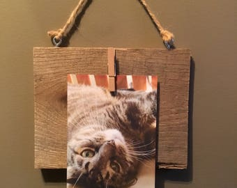 Handmade Reclaimed wood picture hanger 7in tall x 7in wide.