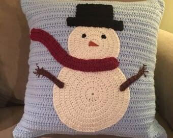 18x18 Crocheted Snowman Pillow