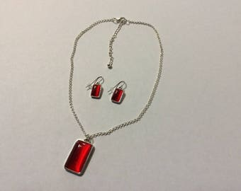 Silver and Red Glass Necklace Set
