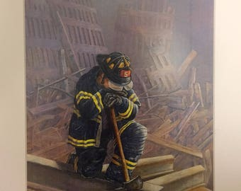Sale Portrait painting portrait of Firefighter painting of Firefighter art PRINT of Firefighter wall art FDNY 911 art Twin Towers painting