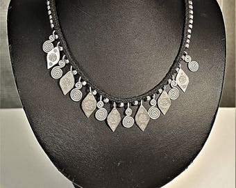 Black Woven Necklace with Silver Charms from Northern Thailand