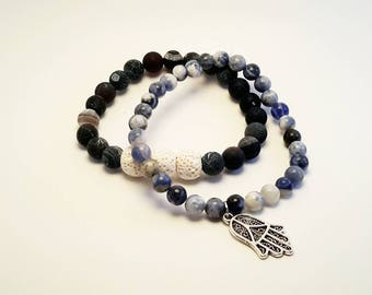 Essential Oil Diffuser Bracelet, Black crackle agate with white lava beads