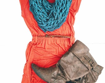 Teal Infinity Scarf | Women's Turqouise Cowl | Teal Scarf | Gifts for Friends | Outfits |