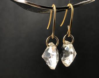 Vintage glass diamond dangle earrings