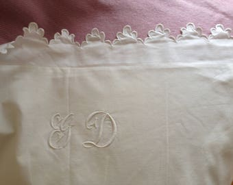 Antique French hand embroidered pillow case, GD monogram, white