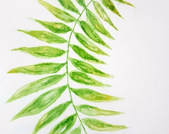 Palm Leaf A5 Watercolour Painting