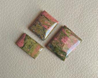 Unakite 03 Piece Jasper Cabochons , Unakite Jasper Stone, Unakite Jasper Weight 106 Carat and Size 28x23x7, 23x18x8, 23x15x7 MM Approx.