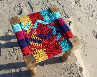 Modern Macrame Rope Stool - Multicolor - Indian Vintage Furniture Charpoy - Handcrafted Wooden Frame