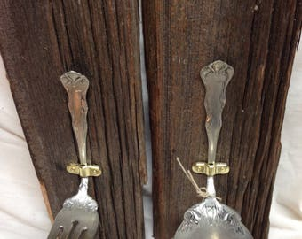Barn Board sconces with silver spoons and fork, tea lights included. Boards are sealed w/polyurethane,metal hangers,Free Shipping