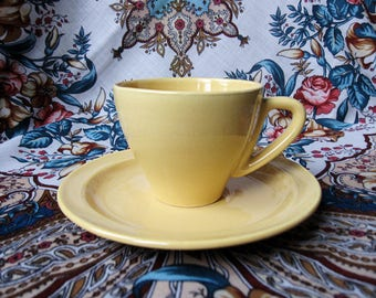 Brocante Yellow Ceramic Teacup and Saucer Set. Vintage Ware.