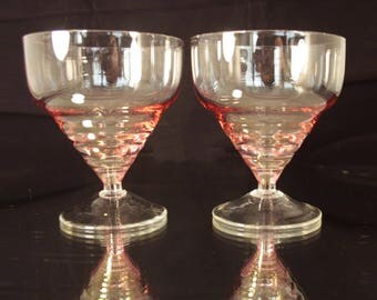 Vintage Glassware, Ice Cream Glasses, 1970s Glassware, Sundae Bowls Ice Cream Glass Set Ice Cream Bowl Set Retro Glasses Bowls Vintage Bowls