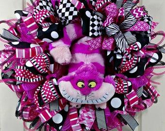 Cheshire Wreath, Cat Wreath, Whimsical Wreath, Pink and Black Wreath, Zany Cat Wreath, Cat Door Decor, Best Door Decor, Fun Cat Wreath