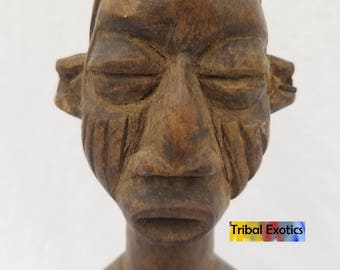 TRIBAL EXOTICS : PREMIUM Authentic fine tribal African Art - Bayaka Yaka Power Fetish Wood Figure Sculpture Statue Mask