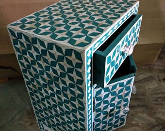 Mother of pearl inlay bedside # night table
