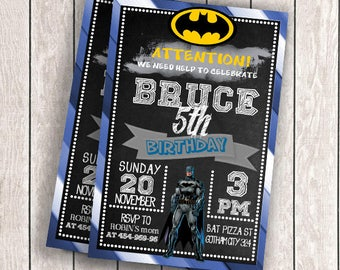 Batman Invitation, EDITABLE TEXT ,The Dark Knight Customizable Printable Birthday Party Invite Superheroes Batman,Instant Download