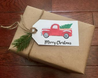 Christmas Tree Truck Tag Instant Download Printable Merry Christmas Rustic Gift Tag
