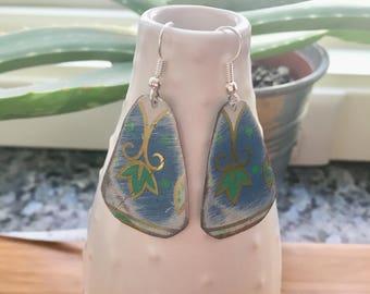 Upcycled vintage tin earrings- light blue