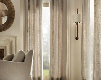 Natural color 100% linen curtains panel,window treatment