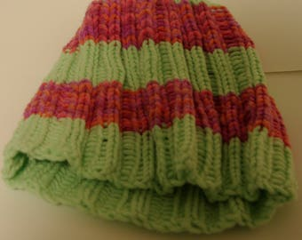 Light Green and Fuchsia Blend Striped Hat