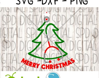 Stethoscope Christmas tree Svg, Christmas Svg, Nurse Svg, DXF, PNG, SVG files for Silhouette and Cricut