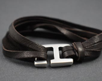 "Bracelet 8"" Multiple strings brown deerskin"