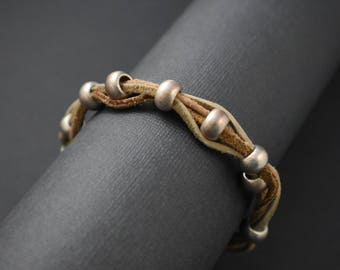 Bracelet - Braided leather/silver plated bracelet