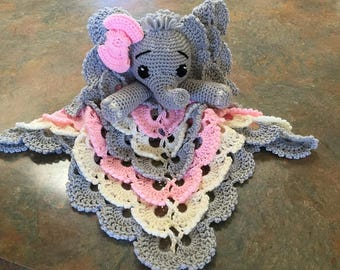 crochet elephant lovey, security blanket, elephant lovey, elephant security blanket, elephant baby shower gift, elephant gift,