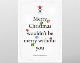 Christmas tree postcard and joke in small letters. Text in shape of Christmas tree. Print at home, keep in digital form or send as an email!
