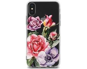 iphone 8 plus case iphone 8 cover iPhone 8 case floral iphone 8 case rubber iphone case red roses Phone 7 Plus case clear iPhone 7 Plus case