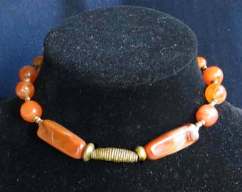 Necklace of Natural Rich Orange Fire Carnelian Agate Accented with Three Vintage African Brass Beads