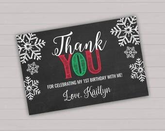 Editable Christmas Thank You Card Christmas Thank You Card Christmas Birthday Party Winter ONEderland Printable Thank You Card Editable File