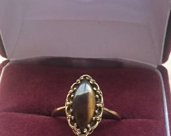 Solid 10k Tigers Eye Statement Rinf Size 8