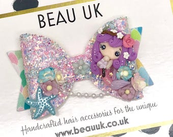 Mermaid fabric & glitter Medium hair bow clip headband hair accessories nylon hair piece artisan