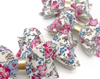 Liberty pink blue blooms flowers floral fabric Medium hair bow clip headband hair accessories
