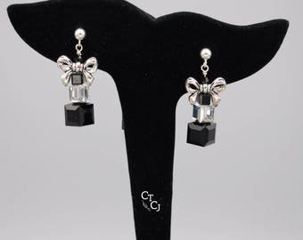 Swarovski Black and Comet Argent crystal cubes with pewter bows - Sterling silver