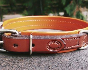 Pet Collar- Chestnut Brown Leather with Orange Vinyl