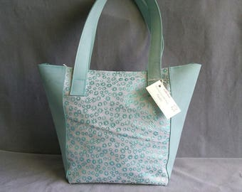 Leather green flower Shopper, leather bag, handmade