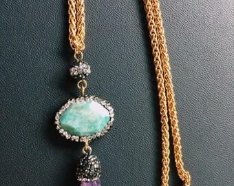 CrystalDust Stones Pendant Necklace