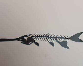 metal fish art paddlefish man cave cabin office decor
