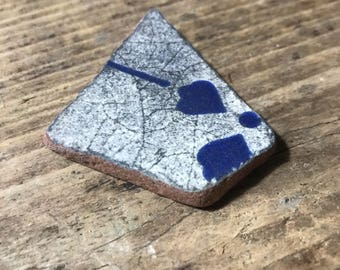 Blue Beach Pottery Tile Piece * Floral Glazed Sea Pottery Shard * Sea Washed Tile * Italian Pottery 1984 * Beach Finds * Large Mosaic Shard