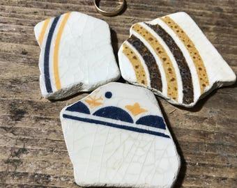 Large Sea Pottery Pieces * White creamy  Berry Blue Yellow Brown Beach Pottery * Ceramics Tiles Pieces Italian Pottery * Retro Vintage Sea
