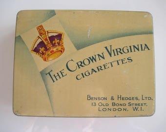 The Crown Virginia Cigarette Tin (100/empty) by Benson & Hedges Ltd c.1940