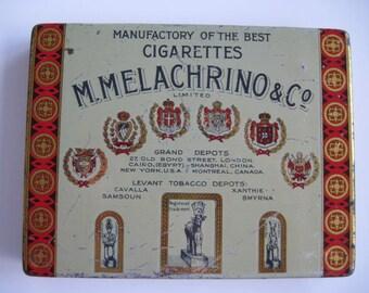 Melachrino No 9 Egyptian cigarette tin( 50/empty) by M Melachrino & Co  c.1910