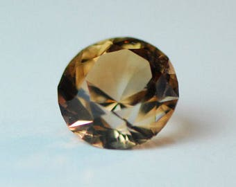 Golden Brown Topaz, Faceted, Round, Transparent, Clean, 10.5 mm in diameter, 5.4 ct. F0382