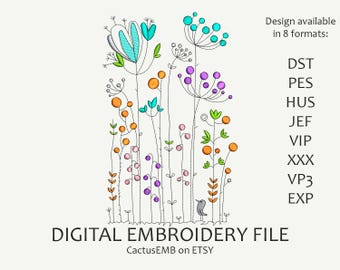 INSTANT DOWNLOAD - Floral Pattern machine embroidery design. Boho Style. Embroidery design