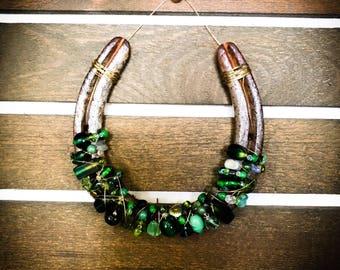 Western rustic country horseshoe wall decor, Cowgirl style, Horseshoes decor, Beaded horseshoe, Decorated horseshoe