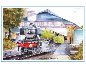 Steam Locomotive Watercolour - Flying Scotsman at Pickering Station
